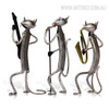 Three Mini Cats Orchestra Band Miniatures Iron Metal Musician Sculptures (2)