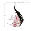 Floral Moorish Idol Marine Fish Glass Statue Size Description