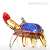 Handmade Floral Pattern Crab Glass Sculpture Sea Animal Miniature (2)