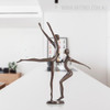 Brown Dancing Couple Bronze Sculpture Contemporary Statue (2)