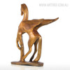 Golden Flying Horse Bronze Sculpture Contemporary Animal Statue (3)