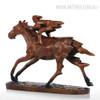 Contemporary Horse Racer Statue Bronze Metal Sculpture Art (3)