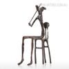 Violin Playing Bronze Metal Miniature Contemporary Sculpture Art (2)