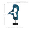 Blue Abstract Flame Sculpture Contemporary Resin Art Size