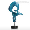 Blue Abstract Flame Sculpture Contemporary Resin Art (3)