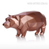 Modern Hippo Animal Sculpture Bronze Resin Miniature (3)