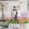 Trumpet Playing Musician Metal Sculpture Cow Boy Music Band Figurine (5)