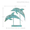 Blue Dolphin Set Iron Metal Sculpture Size