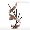 Line and Ribbon Iron Metal Statue Contemporary Sculpture (3)