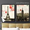 Retro Design France Paris Eiffel Tower & New York Empire State Building (3)