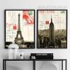 Retro Design France Paris Eiffel Tower & New York Empire State Building (2)
