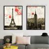Retro Design France Paris Eiffel Tower & New York Empire State Building