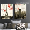 Retro Design France Paris Eiffel Tower & New York Empire State Building (1)