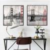 Retro Design New York Brooklyn Bridge Canvas Wall Art