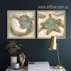 Grey Blue Ocean Starfish Seashell Design Retro Posters