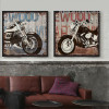 Retro Vintage Harley Design Set  of 2 Piece Living Room Decor