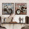 Retro Vintage Harley Motorcycle Design Art Set (2)