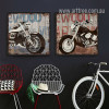 Retro Vintage Harley Motorcycle Design Art Set