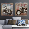 Retro Vintage Harley Motorcycle Street Art Canvas Prints