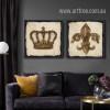 Brown Retro Vintage Crown Lily Logo Canvas Prints (3)