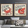 Marine Animals Crab Lobster Set of 2 Piece Living Room Decor (2)