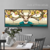 Flory Deer Antlers Design Oversized Canvas Print (2)
