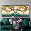 Flory Deer Antlers Design Oversized Canvas Print