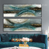 Blue Green Abstract Semicircles Oversized Canvas Art (2)
