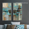 Abstract Blue Painting Style Oversized Canvas Art (1)