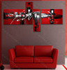 split wall painting Red Base Heavy textured