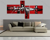 Abstract 4 Panel Group Art Red Base