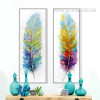 Watercolor Design Colorful Feathers Oversized Canvas Prints