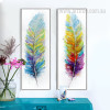 Retro Style Watercolor Colorful Feathers Oversized Canvas Prints