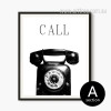 Retro Vintage Telephone Black and White Print