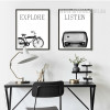 Retro Vintage Cycle Radio Black and White Canvas Prints