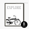 Retro Vintage Cycle Black and White Canvas Print