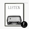 Retro Vintage Radio Black and White Canvas Print