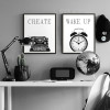 Retro Vintage Typewriter, Wakeup Clock Black and White Canvas Prints