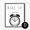 Retro Vintage Wake Up Clock Black and White Canvas Print