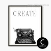 Retro Vintage Typewriter Black and White Print