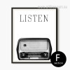 Retro Vintage Radio Black and White Print