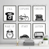 Retro Vintage Industrial Style Design Black and White Canvas Prints