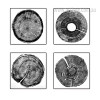 Long Tree Rings Black and White 4 Piece Wall Art (2)