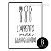 Lappetito Vien Mangiando Quote Black and White Canvas Print