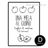 Kitchen Decor Una Mela Quote Art Print