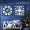 Blue and White Porcelain Moroccan Pattern Split Canvas Art