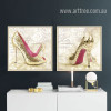 Fashionable Lady Golden High Heels Design Canvas Prints