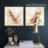Fashionable Lady Golden High Heels Design Canvas Prints (2)