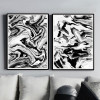 Abstract Marble Style Black and White Prints (2)