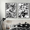 Abstract Marble Style Black and White Prints (3)